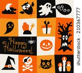 happy halloween card. symbols... | Shutterstock .eps vector #210367777