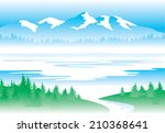 water   mountains  forest ... | Shutterstock .eps vector #210368641