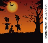 halloween cartoon landscape... | Shutterstock . vector #210370414