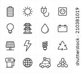 flat line icons for environment ... | Shutterstock .eps vector #210381019