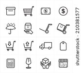 flat line icons for business... | Shutterstock .eps vector #210381577