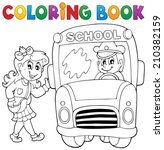 coloring book school bus theme... | Shutterstock .eps vector #210382159