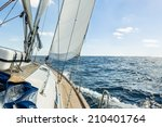 sailing boat deck with hoisted... | Shutterstock . vector #210401764