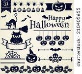 happy halloween  collection of...   Shutterstock .eps vector #210405655