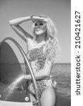 beautiful girl on the yacht | Shutterstock . vector #210421627
