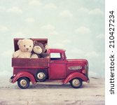 two bears sitting in the box on ... | Shutterstock . vector #210427234