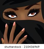 beautiful islamic woman | Shutterstock .eps vector #210436969