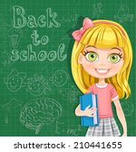 back to school   cute blond... | Shutterstock .eps vector #210441655