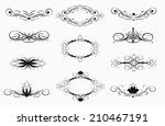 set of vintage decoration black ... | Shutterstock .eps vector #210467191
