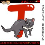 Cartoon Vector Illustration of Capital Letter T from Alphabet with Tasmanian Devil Animal for Children Education