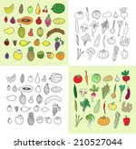 set of hand drawn vegetables... | Shutterstock .eps vector #210527044