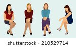 women sitting down while... | Shutterstock .eps vector #210529714