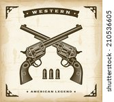 vintage western revolvers.... | Shutterstock .eps vector #210536605