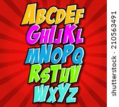 comics style alphabet... | Shutterstock .eps vector #210563491