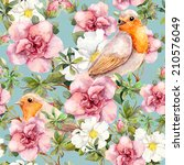 Watercolor Birds And Flowers ....