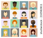 set of flat people icons.... | Shutterstock .eps vector #210582811