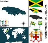 vector map of jamaica with...