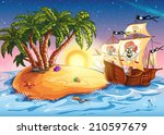 illustration of the island with ... | Shutterstock . vector #210597679