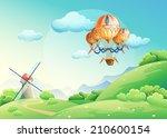 illustration of summer fields... | Shutterstock . vector #210600154