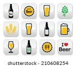 beer colorful vector buttons... | Shutterstock .eps vector #210608254