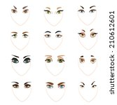 set of vector eyes and brows.... | Shutterstock .eps vector #210612601
