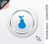 pear with leaf sign icon. fruit ...