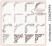 vintage design elements corners ... | Shutterstock .eps vector #210629494