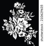 black background large bouquet... | Shutterstock .eps vector #210629635