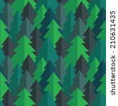 Flat Pine Forest Seamless...