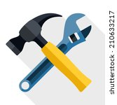Hammer And Wrench Icon With...
