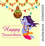 krishna janmashtami background... | Shutterstock .eps vector #210643324