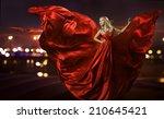 woman dancing in silk dress ... | Shutterstock . vector #210645421