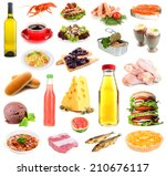 food and drinks collage... | Shutterstock . vector #210676117