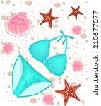bikini on the beach  ... | Shutterstock .eps vector #210677077