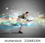 concept of fast internet with... | Shutterstock . vector #210681304