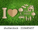 paper cut of family on green... | Shutterstock . vector #210685657