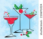 retro style holiday cocktails... | Shutterstock .eps vector #210691024