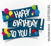 happy birthday card with... | Shutterstock .eps vector #210705181