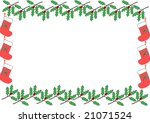christmas frame  holly  | Shutterstock . vector #21071524