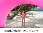 beautiful woman posing with... | Shutterstock . vector #210717079