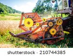 Постер, плакат: Detail of harvester machinery