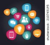 social media icons concept | Shutterstock .eps vector #210745195