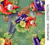 watercolor vegetables seamless...   Shutterstock .eps vector #210750274