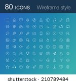 80 line icon set. simple icons...