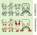 set of tooth cartoon icons with ... | Shutterstock .eps vector #210802231