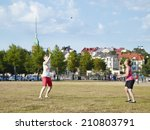 two women play summer game in... | Shutterstock . vector #210803791