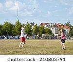 two women play summer game in... | Shutterstock . vector #210803791