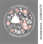 wedding card invitation. | Shutterstock .eps vector #210819175