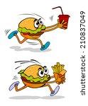 running takeaway cartoon burger ... | Shutterstock .eps vector #210837049