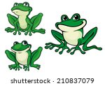 Green Cartoon Frogs Set For...